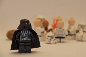 a picture of Darth Vader in front of some other toys